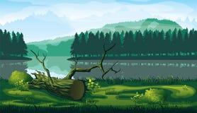Οριζόντιο άνευ ραφής υπόβαθρο του τοπίου με τον ποταμό, το δάσος και τα βουνά διανυσματική απεικόνιση