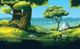 Οριζόντιο άνευ ραφής υπόβαθρο του τοπίου με τον τομέα και το δάσος διανυσματική απεικόνιση