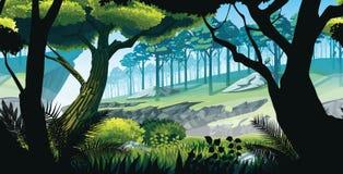 Οριζόντιο άνευ ραφής υπόβαθρο του τοπίου με τους βράχους, τα βουνά και το δάσος διανυσματική απεικόνιση
