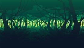 Οριζόντιο άνευ ραφής υπόβαθρο του τοπίου με το βαθύ δάσος ζουγκλών διανυσματική απεικόνιση