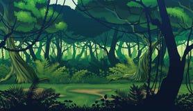Οριζόντιο άνευ ραφής υπόβαθρο του τοπίου με το βαθύ δάσος ζουγκλών απεικόνιση αποθεμάτων