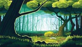 Οριζόντιο άνευ ραφής υπόβαθρο του τοπίου με το βαθύ δάσος ελεύθερη απεικόνιση δικαιώματος