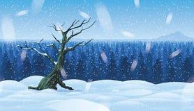 Οριζόντιο άνευ ραφής υπόβαθρο του τοπίου με το χειμερινό δάσος διανυσματική απεικόνιση