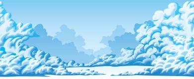 Οριζόντιο άνευ ραφής υπόβαθρο των χνουδωτών σύννεφων ελεύθερη απεικόνιση δικαιώματος