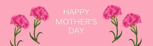 Οριζόντιο έμβλημα για την ημέρα της μητέρας με τα γαρίφαλα Αφίσα ή ευχετήρια κάρτα r ελεύθερη απεικόνιση δικαιώματος