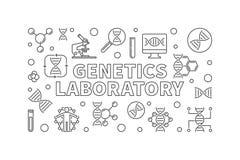 Οριζόντιο έμβλημα εργαστηριακών διανυσματικό περιλήψεων γενετικής ελεύθερη απεικόνιση δικαιώματος