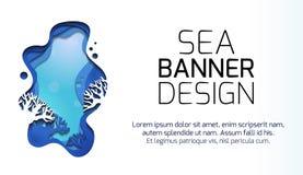 Οριζόντιο έμβλημα με την τρισδιάστατη απεικόνιση του θαλάσσιου τοπίου με τους σκοπέλους, που αποκόπτει του εγγράφου Βαλμένη σε στ ελεύθερη απεικόνιση δικαιώματος