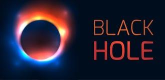 Οριζόντιο έμβλημα με τη μαύρη τρύπα και θέση για το κείμενο Η έκρηξη του παλαιού αστεριού Defocused γύρω από την τρύπα με τις λάμ ελεύθερη απεικόνιση δικαιώματος