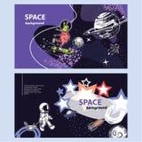 Οριζόντιο έμβλημα του διαστημικού θέματος Γεωμετρική σύνθεση Υπόβαθρο για τις καλύψεις, ιπτάμενα, εμβλήματα ελεύθερη απεικόνιση δικαιώματος