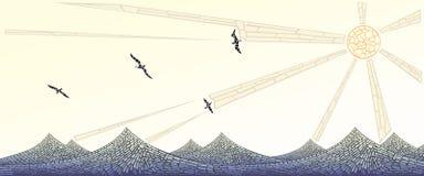 Οριζόντιο έμβλημα: μωσαϊκό του κύματος με τον ήλιο και τα πουλιά Στοκ φωτογραφίες με δικαίωμα ελεύθερης χρήσης