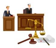 Οριζόντιο έμβλημα νόμου που τίθεται με την απομονωμένη στοιχεία διανυσματική απεικόνιση δικαστικών συστημάτων Στοκ Φωτογραφίες