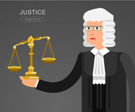 Οριζόντιο έμβλημα νόμου που τίθεται με τη διανυσματική απεικόνιση στοιχείων δικαστικών συστημάτων Στοκ Εικόνα