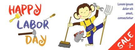Οριζόντιο έμβλημα πώλησης Εργατικής Ημέρας με το χαριτωμένο πίθηκο Στοκ εικόνα με δικαίωμα ελεύθερης χρήσης