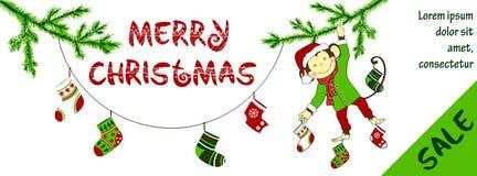 Οριζόντιο έμβλημα πώλησης Χριστουγέννων με το χαριτωμένο πίθηκο Στοκ φωτογραφία με δικαίωμα ελεύθερης χρήσης