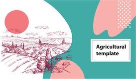 Οριζόντιο γεωργικό έμβλημα Διανυσματική εικόνα ενός τομέα, των θυμωνιών χόρτου, ενός δέντρου και ενός σπιτιού στο Tuscan ύφος Γεω διανυσματική απεικόνιση