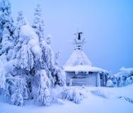 Οριζόντιο ζωηρό τοπίο της χειμερινής Φινλανδίας Στοκ Εικόνες
