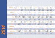 2014 οριζόντιο ημερολόγιο Στοκ Εικόνες