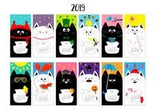 Οριζόντιο μηνιαίο ημερολόγιο 2019 γατών Χαριτωμένος αστείος χαρακτήρας κινουμένων σχεδίων - σύνολο Όλος ο μήνας Ευτυχή Χριστούγεν διανυσματική απεικόνιση