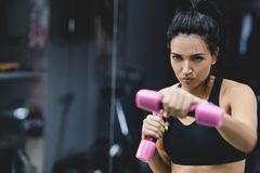 Οριζόντιο πορτρέτο της ισχυρής νέας γυναίκας που κάνει την άσκηση με τους αλτήρες Ευρωπαϊκό θηλυκό ικανότητας που κάνει την έντον στοκ φωτογραφία με δικαίωμα ελεύθερης χρήσης