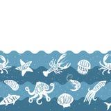 Οριζόντιο σχέδιο επανάληψης με τα προϊόντα θαλασσινών Άνευ ραφής έμβλημα θαλασσινών με τα υποβρύχια ζώα Στοκ εικόνες με δικαίωμα ελεύθερης χρήσης