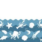 Οριζόντιο σχέδιο επανάληψης με τα προϊόντα θαλασσινών Άνευ ραφής έμβλημα θαλασσινών με τα υποβρύχια ζώα Στοκ Εικόνα