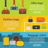 Οριζόντιο σύνολο εμβλημάτων αποσκευών τσαντών, επίπεδο ύφος απεικόνιση αποθεμάτων