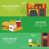 Οριζόντιο σύνολο εμβλημάτων παράδοσης τροφίμων Απεικόνιση αποθεμάτων