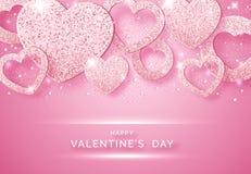 Οριζόντιο υπόβαθρο ημέρας βαλεντίνων με τις λάμποντας ρόδινα καρδιές, τις σφαίρες και το κομφετί Απεικόνιση καρτών διακοπών στο ρ διανυσματική απεικόνιση