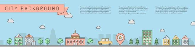 Οριζόντιο υπόβαθρο πόλεων Απλό σχέδιο περιλήψεων μέρος δύο ελεύθερη απεικόνιση δικαιώματος