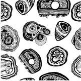 Ορυκτός hand-drawn γραπτός σχεδίων πετρών άνευ ραφής Στοκ φωτογραφία με δικαίωμα ελεύθερης χρήσης
