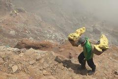 Ορυχεία Kawah Ijen θείου στην ανατολική Ιάβα, Ινδονησία στοκ φωτογραφία με δικαίωμα ελεύθερης χρήσης