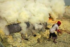 Ορυχεία Kawah Ijen θείου στην ανατολική Ιάβα, Ινδονησία Στοκ Εικόνα