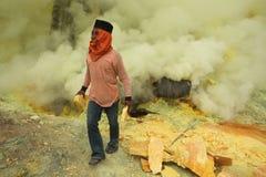 Ορυχεία Kawah Ijen θείου στην ανατολική Ιάβα, Ινδονησία Στοκ φωτογραφίες με δικαίωμα ελεύθερης χρήσης