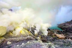 Ορυχεία Kawah Ijen θείου στην ανατολική Ιάβα, Ινδονησία στοκ εικόνα με δικαίωμα ελεύθερης χρήσης