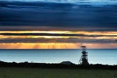 Ορυχείο κασσίτερου Geevor στο ηλιοβασίλεμα στοκ φωτογραφία