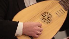 Ορχήστρα αιθουσών Ένα λαγούτο παιχνιδιού ατόμων κλείστε επάνω απόθεμα βίντεο