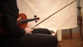 Ορχήστρα αιθουσών Μια συνεδρίαση ατόμων στην καρέκλα που κρατά ένα βιολί και ένα τόξο απόθεμα βίντεο