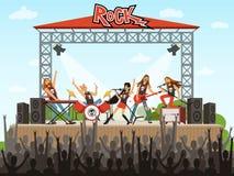 Ορχήστρα ροκ στη σκηνή Άνθρωποι στη συναυλία Απόδοση μουσικής Διανυσματική απεικόνιση στο ύφος κινούμενων σχεδίων ελεύθερη απεικόνιση δικαιώματος