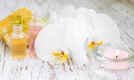 Ορχιδέες και κερί Στοκ Εικόνες