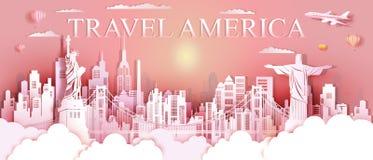 Ορόσημα Ηνωμένες Πολιτείες γύρου και διάσημη αρχιτεκτονική μνημείων της Νότιας Αμερικής στοκ εικόνα