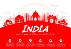 Ορόσημα ταξιδιού της Ινδίας Στοκ Εικόνα