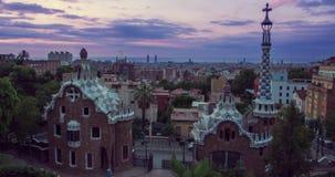 Ορόσημα της Βαρκελώνης Πρωί στο πάρκο Guell που σχεδιάζεται από το Antoni Gaudi στην Ισπανία φιλμ μικρού μήκους