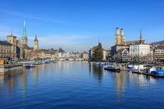 Ορόσημα της Ζυρίχης, Ελβετία Στοκ Εικόνες