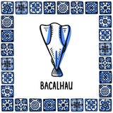 Ορόσημα της Πορτογαλίας καθορισμένα Bacalhau, παραδοσιακός αλατισμένος βακαλάος Ψάρια μαρουλιών στο πλαίσιο των πορτογαλικών κερα διανυσματική απεικόνιση