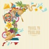 Ορόσημα της Ταϊλάνδης ταξιδιού με το χάρτη της Ταϊλάνδης Ταϊλανδικά διανυσματικά εικονίδια απεικόνιση αποθεμάτων