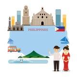 Ορόσημα των Φιλιππινών, άνθρωποι στον παραδοσιακό ιματισμό, πλαίσιο Στοκ Εικόνα