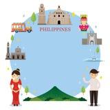 Ορόσημα των Φιλιππινών, άνθρωποι στον παραδοσιακό ιματισμό, πλαίσιο Στοκ Εικόνες