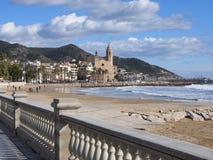 Ορόσημα Sitges & x28 Βαρκελώνη, Spain& x29  στοκ εικόνα
