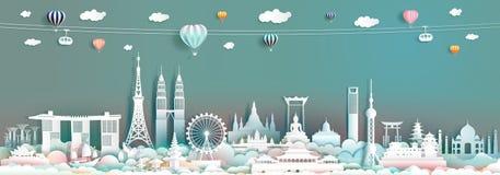 Ορόσημο Ασία ταξιδιού με το στο κέντρο της πόλης ορίζοντα εικονικής παράστασης πόλης και τον τουρισμό της ASEAN στοκ εικόνες με δικαίωμα ελεύθερης χρήσης