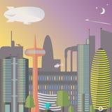 ορόσημο Η νύχτα πόλεων με το φεγγάρι και τα αστέρια Ουρανοξύστες και πύργος TV με την πηγή απεικόνιση αποθεμάτων